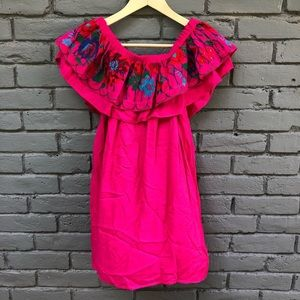 UmGee Pink Floral Embroidered Off Shoulder Tunic S